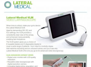 Lateral Medical Anaesthetics Critical Care - Videolaryngoscope System Lateral Medical VLM Downloadable PDF Brochure