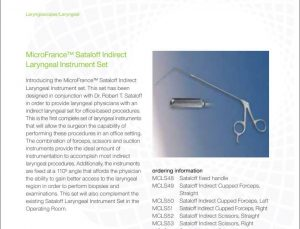 Lateral Medical Microfrance ENT Instruments Additional Resources - MicroFrance Sataloff Indirect PDF