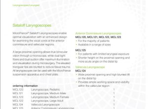 Lateral Medical Microfrance ENT Instruments Additional Resources - Sataloff Laryngoscopes PDF